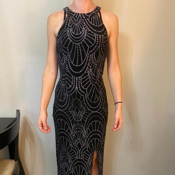Long Black Sparkling Formal Dress